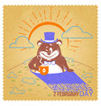 retro happy groundhog day vector image vector image