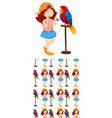 seamless background design with girl and parrot vector image