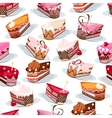 Seamless pattern with cake slices vector image