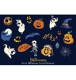 set 18 halloween funny scarry elements vector image