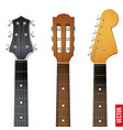 Set of Guitar neck fretboard and headstock vector image