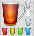 set of transparent glass cups vector image vector image