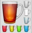 set transparent glass cups vector image