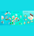 shopping mall isometric banners set vector image vector image