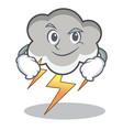 smirking thunder cloud character cartoon vector image