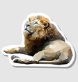 sticker lion lying down facing up vector image vector image
