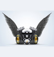 Symbol of motorcycle engine with Black open wings vector image vector image