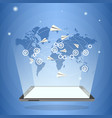 tablet computer with world map and paper airplanes vector image