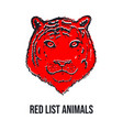 tiger face or head red list animals hand drawn vector image vector image