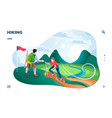 tourist hiking at hill or mountaineers climbing vector image