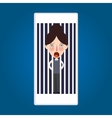trapped inside phone jailed because mobile post vector image vector image