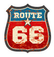 vintage route 66 road sign with grunge distressed vector image vector image