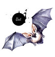watercolor bat vampire vactor painted isolated vector image vector image