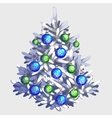 White Christmas tree with toys and garland vector image vector image