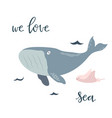 baby print with blue whale hand drawn graphic vector image vector image
