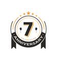 birthday vintage logo template 7 th anniversary vector image vector image