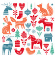 christmas hand drawn elements in scandinavian vector image