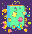 colorful of green shopping bag on dark backg vector image