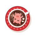 cute and funny piglet chilling in a cup of winter vector image