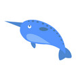 cute narwhal cartoon flat sticker or icon vector image