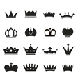 Different crowns silhouettes collection vector image