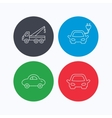 Electric car evacuator and transport icons vector image