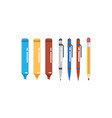 felt-tip pens pens and pencils icons set vector image