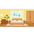 flat style hotel room interior with furniture vector image vector image