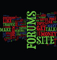 forums talk and make money text background word vector image vector image