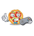 gamer margherita pizza isolated with cartoons vector image vector image