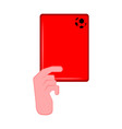 hand holding a red card vector image
