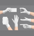 hands in gloves composition vector image vector image