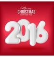 Happy new 2016 year Voluminous white figures vector image vector image