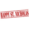 happy saint nicholas stamp vector image vector image