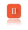ii roman numeral orange square icon with vector image