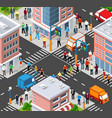 isometric people walking on street vector image vector image