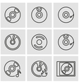 line cd icon set vector image vector image