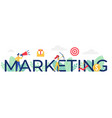 marketing word cartoon flat vector image vector image