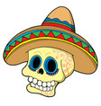 mexican skull in sombrero vector image