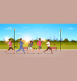 mix race people jogging active sport men women vector image