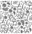 mom kids love cute animal seamless pattern vector image