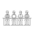 monochrome silhouette of teamwork of men sitting vector image