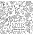 new year congratulation card with numbers 2019 vector image vector image