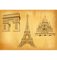 Paris symbols on the old paper vector image
