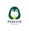 penguin cannabis logo icon vector image vector image