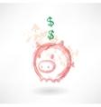 Piggy moneybox grunge icon vector image