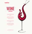 red wine splash in glass with bottle vector image vector image