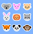 set animals stickers cat rabbit pig lion panda vector image