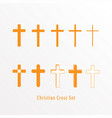 set christian cross icon vector image