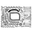 set doodle floral hand drawn border and frame vector image vector image